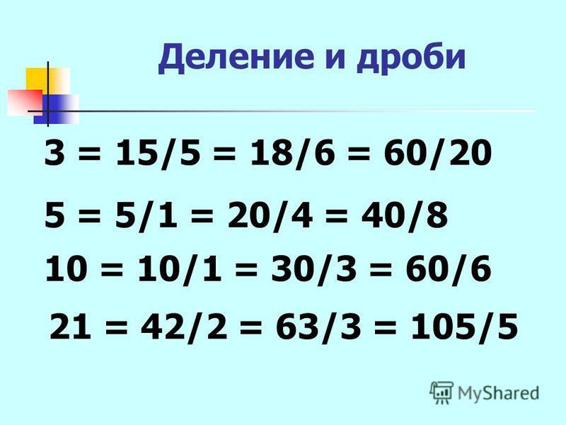 Деление и дроби 3 = 15/5 = 18/6 = 60/20 5 = 5/1 = 20/4 = 40/8 10 = 10/1 = 30/3 = 60/6 21 = 42/2 = 63/3 = 105/5