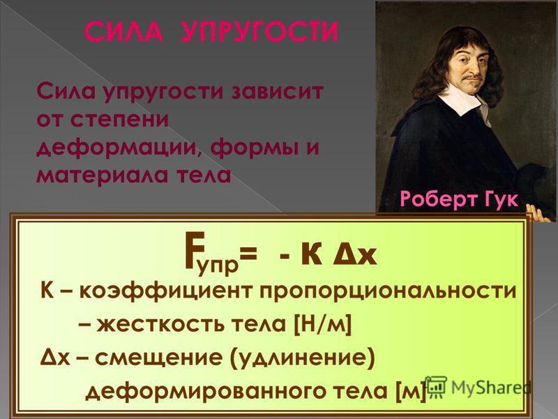 СИЛА УПРУГОСТИ = - К Δx Сила упругости зависит от степени деформации, формы и материала тела