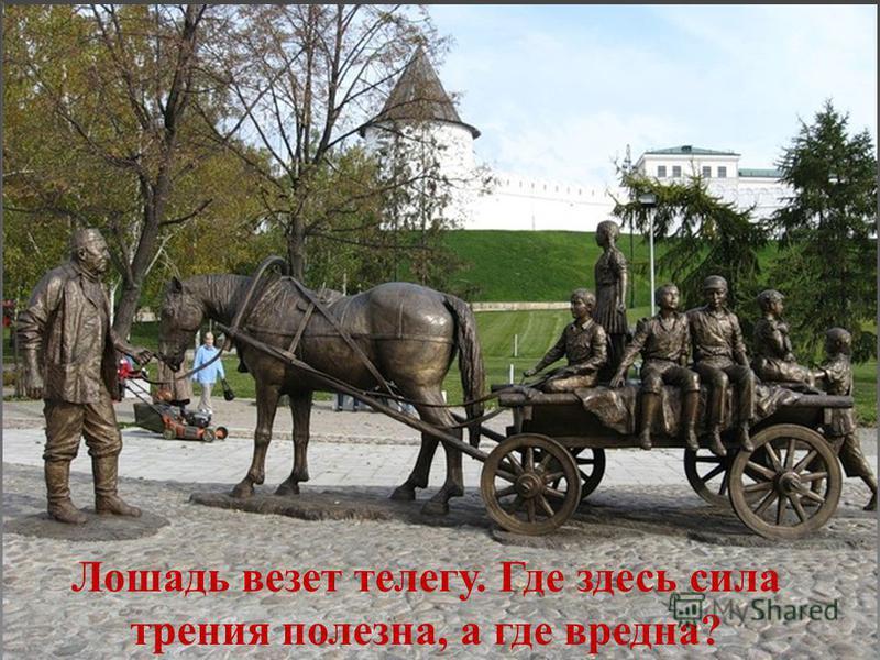 Лошадь везет телегу. Где здесь сила трения полезна, а где вредна?