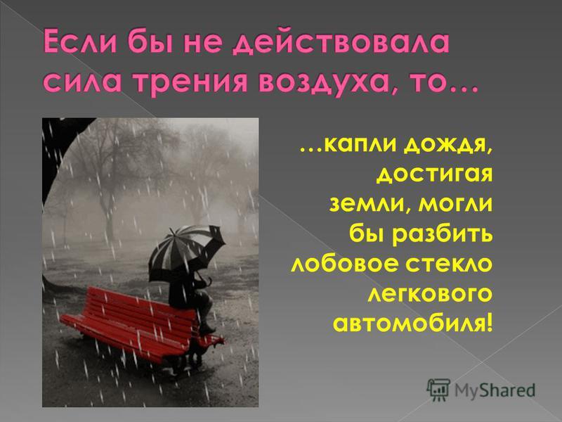…капли дождя, достигая земли, могли бы разбить лобовое стекло легкового автомобиля!