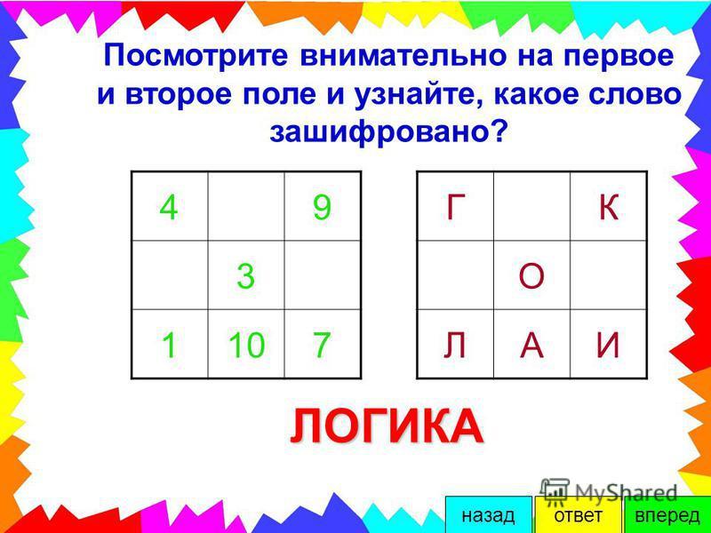 Дополни каждый треугольник, зная, что внутреннее число является суммой трёх чисел. 10 8 4 3 3 2 4 2 4 7 21 вперед-назад