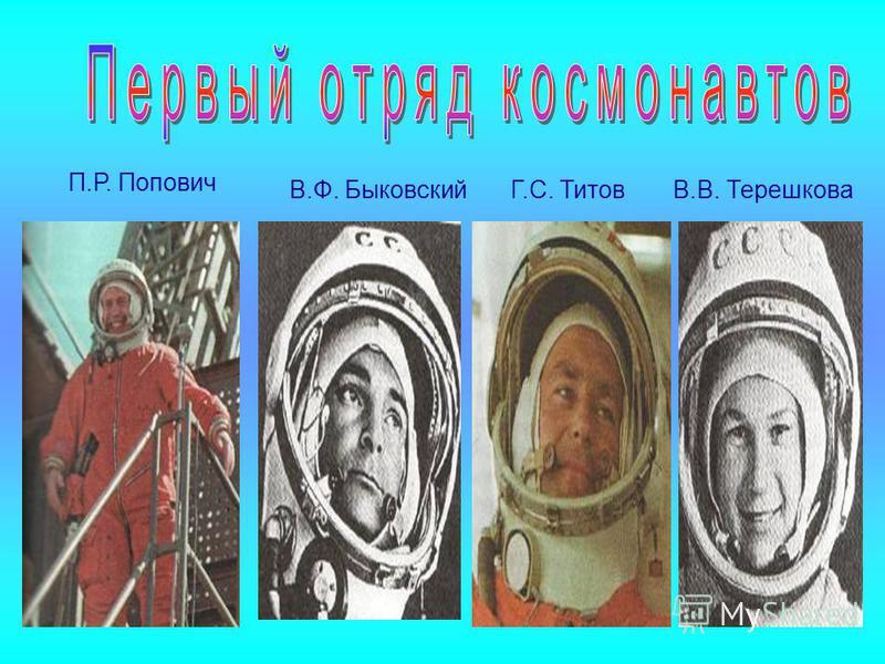 П.Р. Попович Г.С. ТитовВ.Ф. БыковскийВ.В. Терешкова