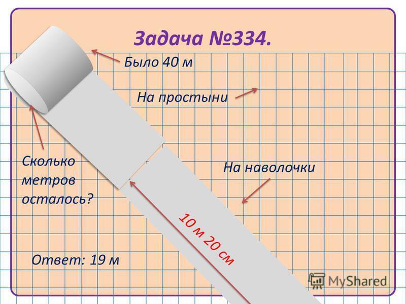 Задача 334. 1 м 80 см 10 м 20 см Было 40 м На простыни На наволочки Ответ: 19 м 1 м 80 см Сколько метров осталось?