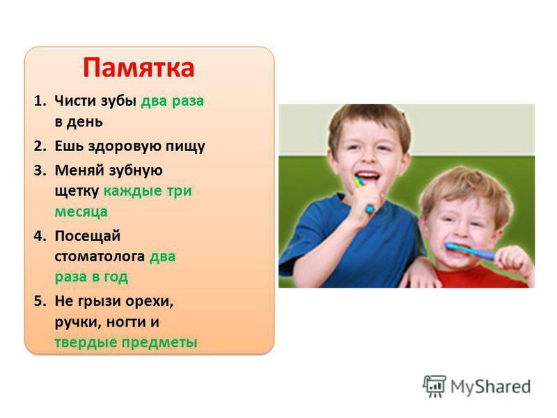 Памятка 1. Чисти зубы два раза в день 2. Ешь здоровую пищу 3. Меняй зубную щетку каждые три месяца 4. Посещай стоматолога два раза в год 5. Не грызи орехи, ручки, ногти и твердые предметы