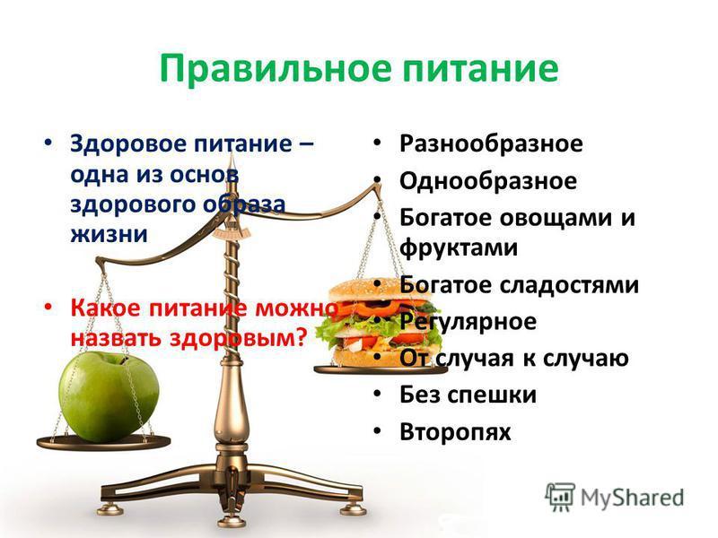 Правильное питание Здоровое питание – одна из основ здорового образа жизни Какое питание можно назвать здоровым? Разнообразное Однообразное Богатое овощами и фруктами Богатое сладостями Регулярное От случая к случаю Без спешки Второпях