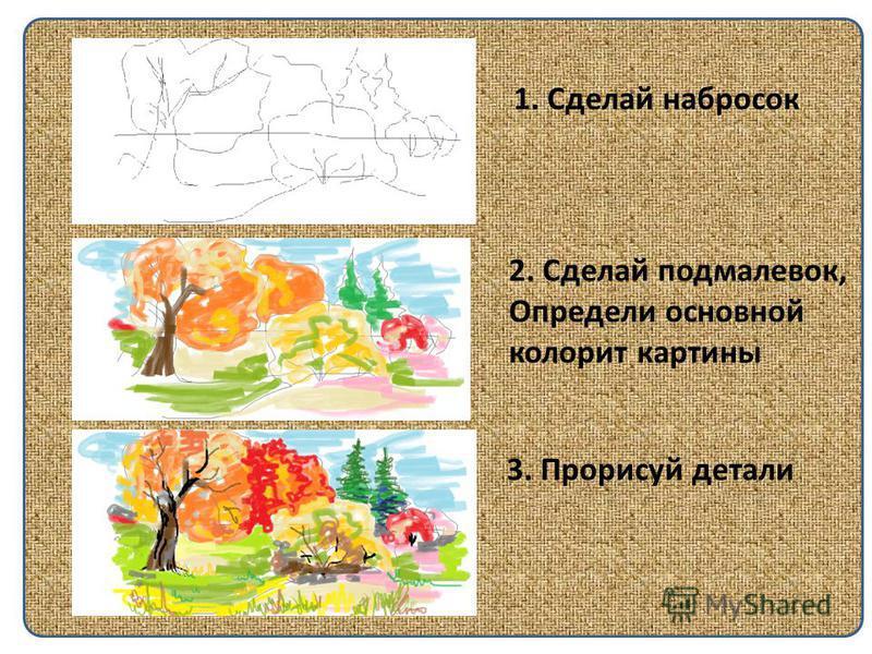 1. Сделай набросок 2. Сделай подмалевок, Определи основной колорит картины 3. Прорисуй детали