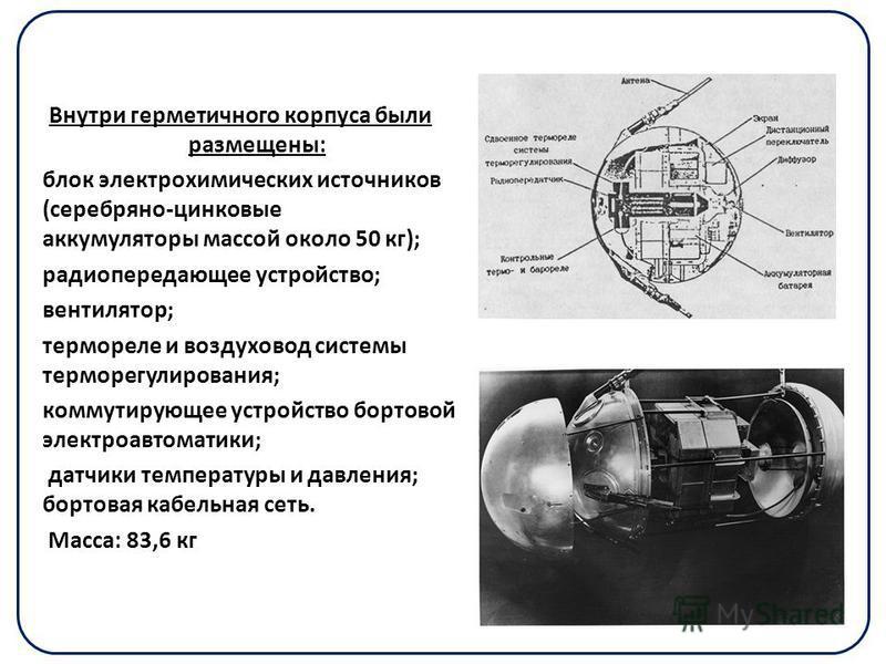 Внутри герметичного корпуса были размещены: блок электрохимических источников (серебряно-цинковые аккумуляторы массой около 50 кг); радиопередающее устройство; вентилятор; термореле и воздуховод системы терморегулирования; коммутирующее устройство бо