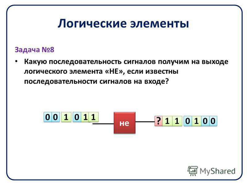 Логические элементы Задача 8 Какую последовательность сигналов получим на выходе логического элемента «НЕ», если известны последовательности сигналов на входе? ? ? 1 1 1 1 1 1 1 1 1 1 1 1 0 0 0 0 0 0 0 0 0 0 0 0 не
