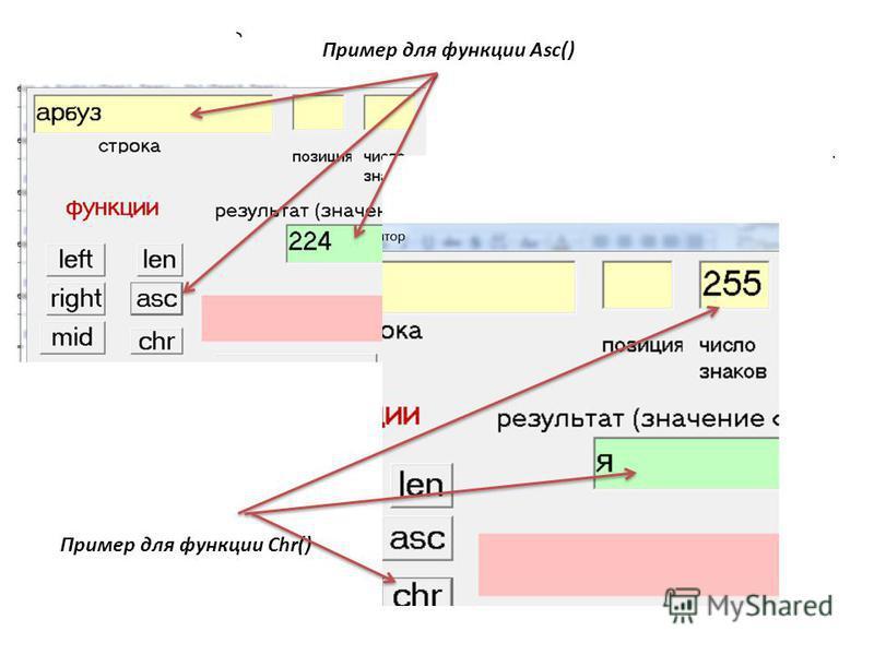 Пример для функции Asc() Пример для функции Chr()