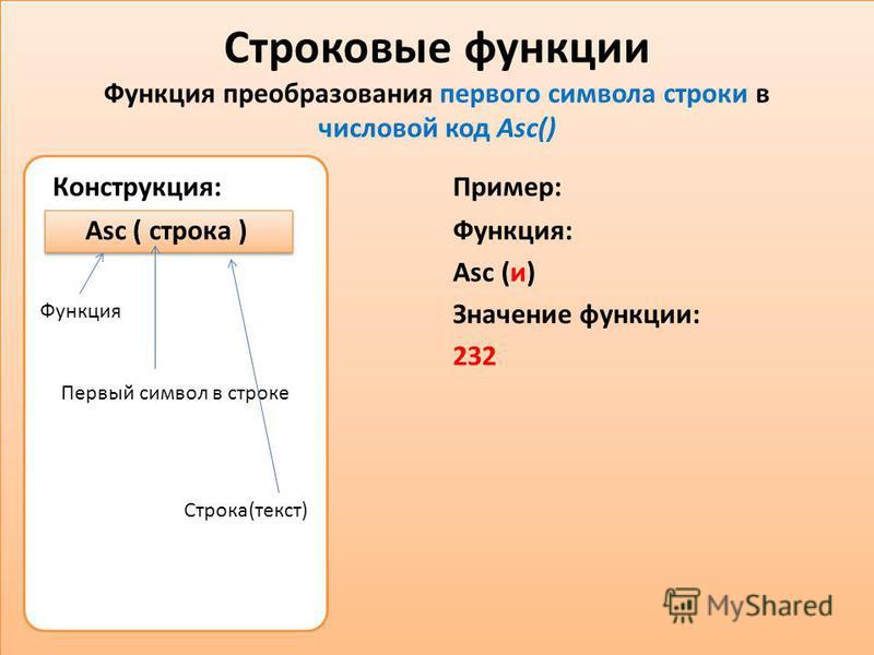 Первый символ в строке Строковые функции Функция преобразования первого символа строки в числовой код Asc() Конструкция: Asc ( строка ) Пример: Функция: Asc (и) Значение функции: 232 Функция Строка(текст)