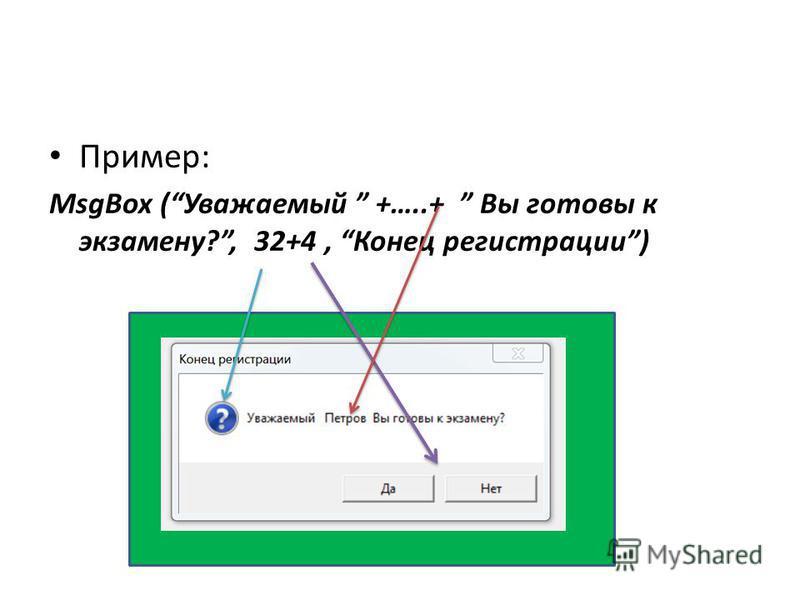 Пример: MsgBox (Уважаемый +…..+ Вы готовы к экзамену?, 32+4, Конец регистрации)