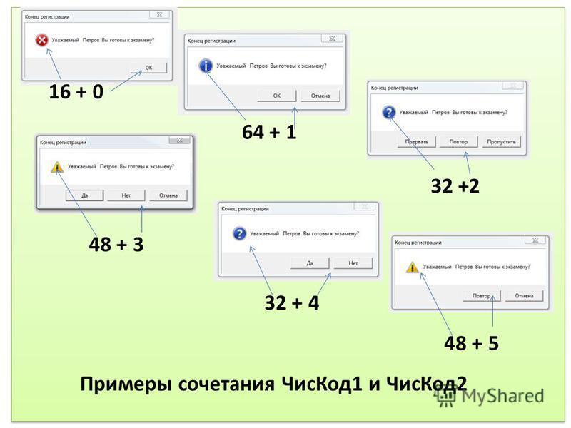 16 + 0 64 + 1 32 +2 48 + 3 32 + 4 48 + 5 Примеры сочетания Чис Код 1 и Чис Код 2