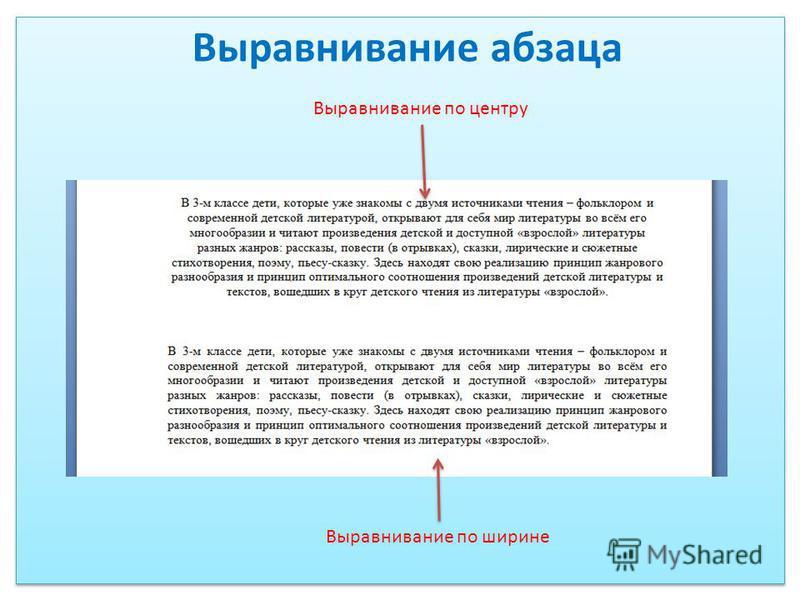 Выравнивание по центру Выравнивание по ширине Выравнивание абзаца