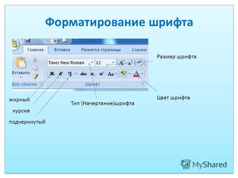 Форматирование шрифта жирный курсив подчеркнутый Размер шрифта Тип (Начертание)шрифта Цвет шрифта