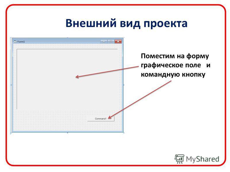 Внешний вид проекта Поместим на форму графическое поле и командную кнопку