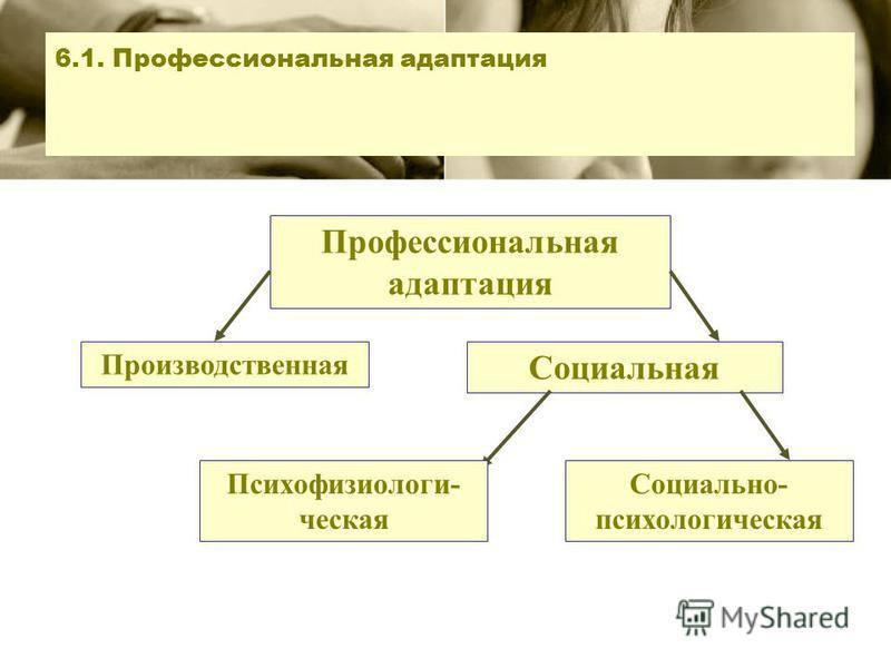 6.1. Профессиональная адаптация Профессиональная адаптация Производственная Социальная Психофизиологи- ческая Социально- психологическая