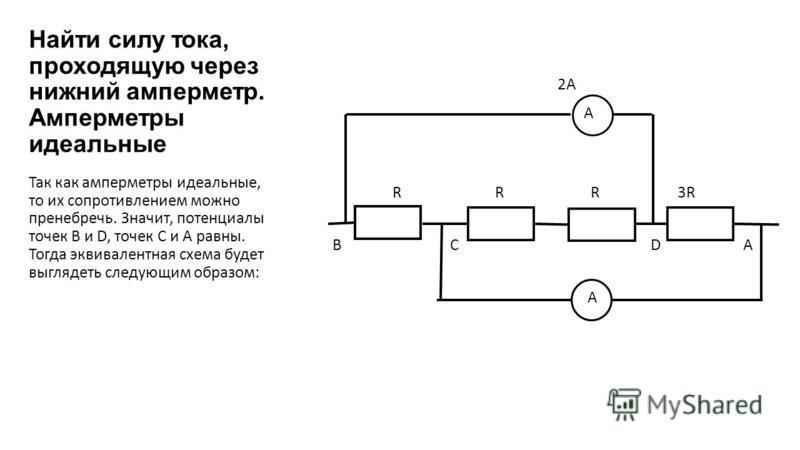 Найти силу тока, проходящую через нижний амперметр. Амперметры идеальные 2А А R R R 3R B C D A A Так как амперметры идеальные, то их сопротивлением можно пренебречь. Значит, потенциалы точек В и D, точек С и А равны. Тогда эквивалентная схема будет в
