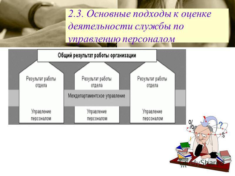 2.3. Основные подходы к оценке деятельности службы по управлению персоналом