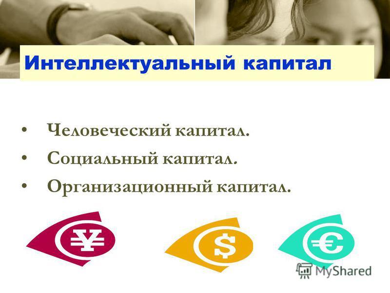 Интеллектуальный капитал Человеческий капитал. Социальный капитал. Организационный капитал.