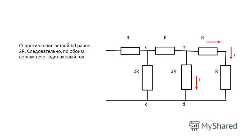 RRRRRR abab I 2R 2R R I cdcd Сопротивление ветвей bd равно 2R. Следовательно, по обоим веткам течет одинаковый ток