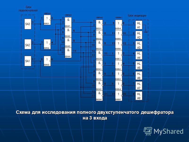 Схема для исследования полного двухступенчатого дешифратора на 3 входа