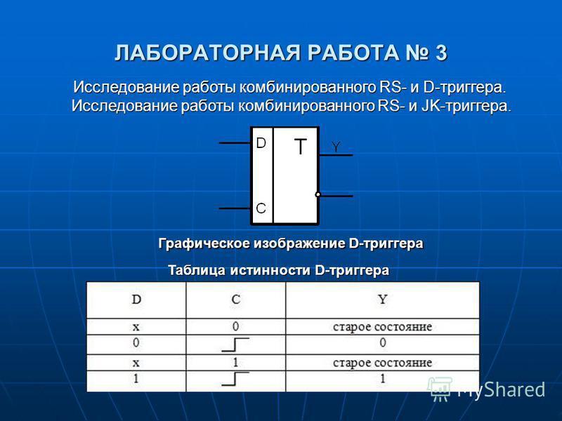 ЛАБОРАТОРНАЯ РАБОТА 3 Исследование работы комбинированного RS- и D-триггера. Исследование работы комбинированного RS- и JK-триггера. Исследование работы комбинированного RS- и JK-триггера. Графическое изображение D-триггера Таблица истинности D-тригг