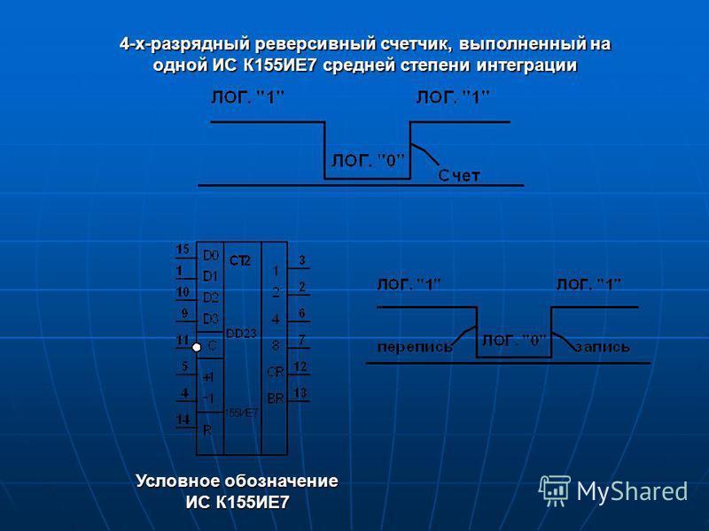 4-х-разрядный реверсивный счетчик, выполненный на одной ИС К155ИЕ7 с редней степени интеграции Условное обозначение ИС К155ИЕ7