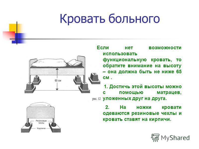 Кровать больного Если нет возможности использовать функциональную кровать, то обратите внимание на высоту – она должна быть не ниже 65 см. 1. Достичь этой высоты можно с помощью матрацев, уложенных друг на друга. 2. На ножки кровати одеваются резинов