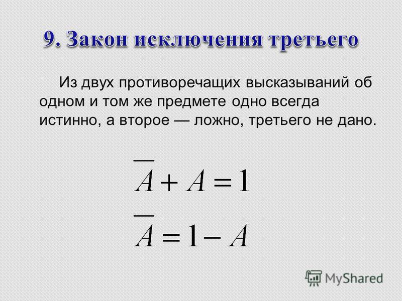 Из двух противоречащих высказываний об одном и том же предмете одно всегда истинно, а второе ложно, третьего не дано.