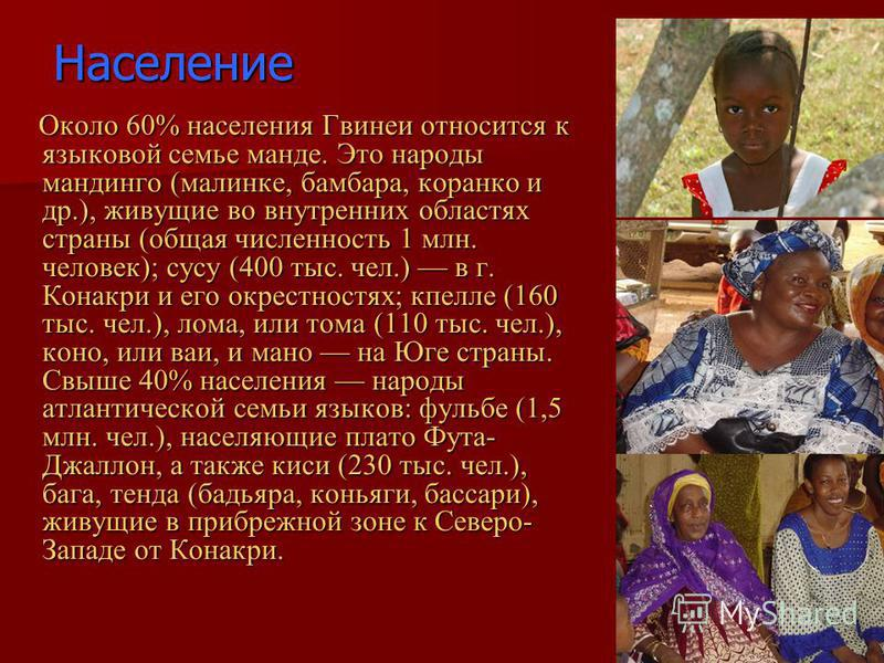 Население Около 60% населения Гвинеи относится к языковой семье манде. Это народы мандинго (малинке, бамбара, коранко и др.), живущие во внутренних областях страны (общая численность 1 млн. человек); сусу (400 тыс. чел.) в г. Конакри и его окрестност