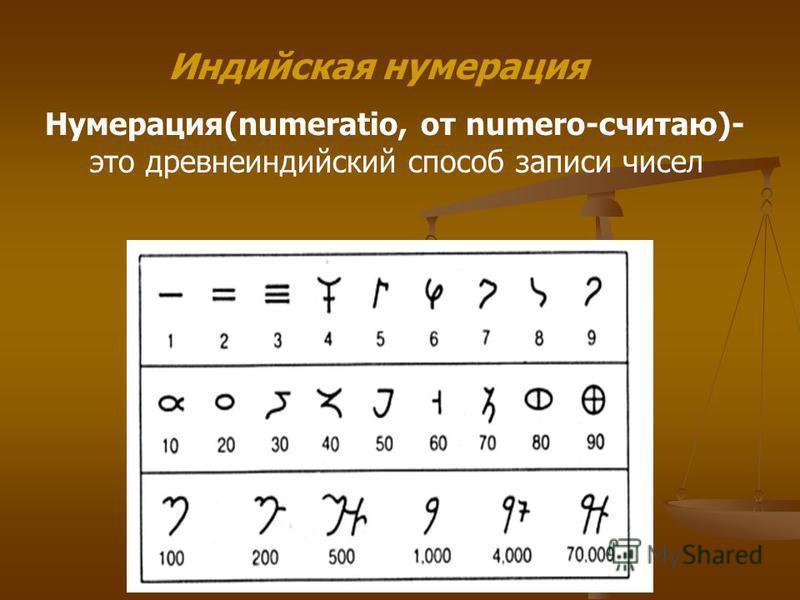 Индийская нумерация Нумерация(numeratio, от numero-считаю)- это древнеиндийский способ записи чисел