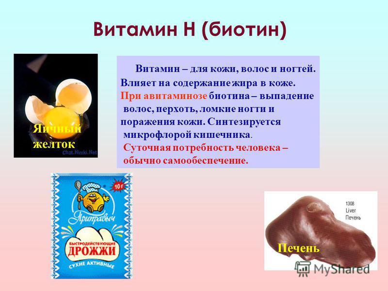 Витамин Н (биотин) Витамин – для кожи, волос и ногтей. Влияет на содержание жира в коже. При авитаминозе биотина – выпадение волос, перхоть, ломкие ногти и поражения кожи. Синтезируется микрофлорой кишечника. Суточная потребность человека – обычно са