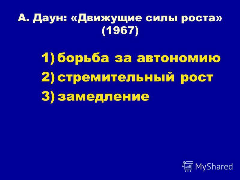 А. Даун: «Движущие силы роста» (1967) 1)борьба за автономию 2)стремительный рост 3)замедление