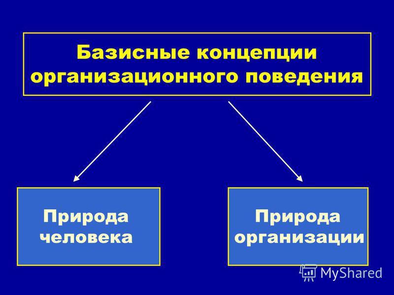 Базисные концепции организационного поведения Природа человека Природа организации
