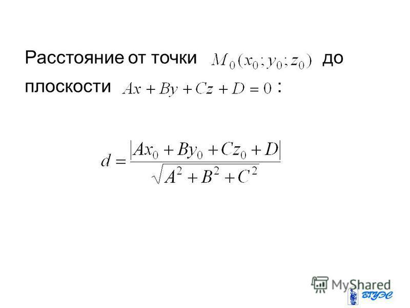 Расстояние от точки до плоскости :