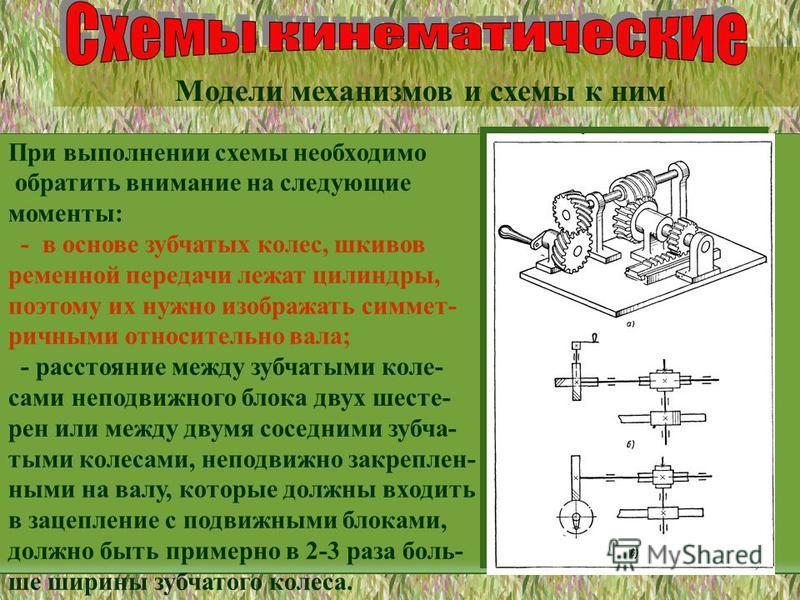 Модели механизмов и схемы к ним При выполнении схемы необходимо обратить внимание на следующие моменты: - в основе зубчатых колес, шкивов ременной передачи лежат цилиндры, поэтому их нужно изображать симметричными относительно вала; - расстояние межд