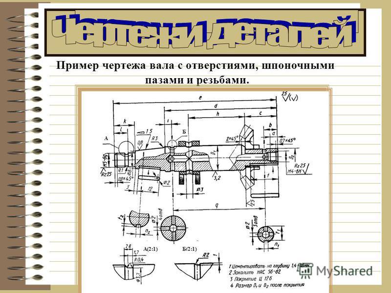 Пример чертежа вала с отверстиями, шпоночными пазами и резьбами. А Б А(2:1)Б(2:1)