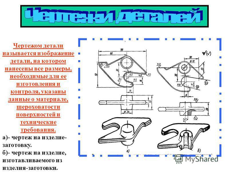 Чертежом детали называется изображение детали, на котором нанесены все размеры, необходимые для ее изготовления и контроля, указаны данные о материале, шероховатости поверхностей и технические требования. а)- чертеж на изделие- заготовку. б)- чертеж