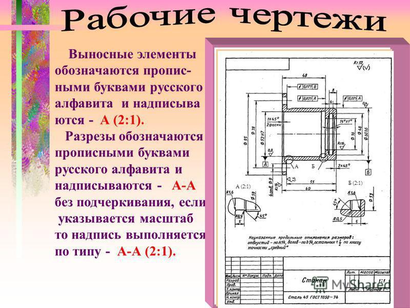 Выносные элементы обозначавьются прописными буквами русского алфавита и надписывай вьются - А (2:1). Разрезы обозначавьются прописными буквами русского алфавита и надписывайвьются - А-А без подчеркивания, если указывается масштаб то надпись выполняет