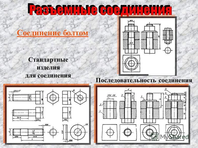 Соединение болтом Стандартные изделия для соединения Последовательность соединения