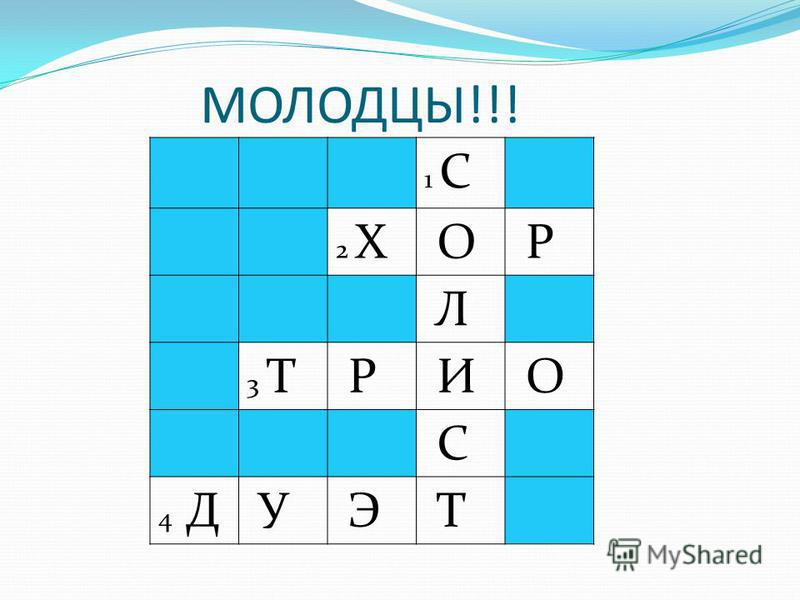 МОЛОДЦЫ!!! 1 С 2 Х О Р Л 3 Т Р И О С 4 Д У Э Т