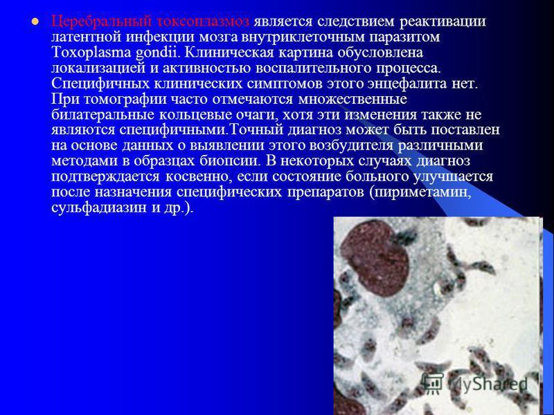Церебральный токсоплазмоз является следствием реактивации латентной инфекции мозга внутриклеточным паразитом Toxoplasma gondii. Клиническая картина обусловлена локализацией и активностью воспалительного процесса. Специфичных клинических симптомов это