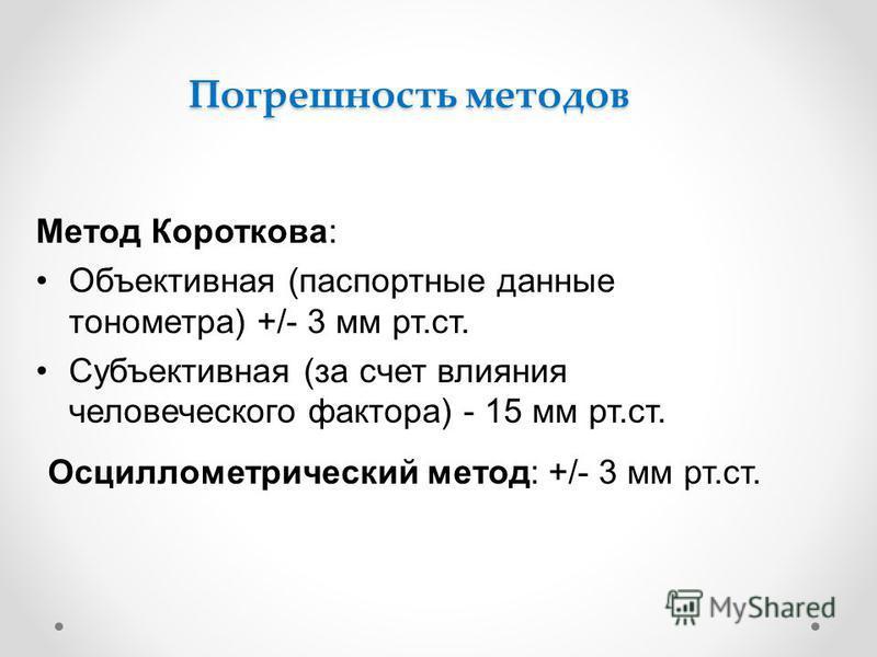 Метод Короткова: Объективная (паспортные данные тонометра) +/- 3 мм рт.ст. Субъективная (за счет влияния человеческого фактора) - 15 мм рт.ст. Осциллометрический метод: +/- 3 мм рт.ст. Погрешность методов