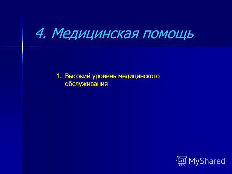 4. Медицинская помощь 1. Высокий уровень медицинского обслуживания