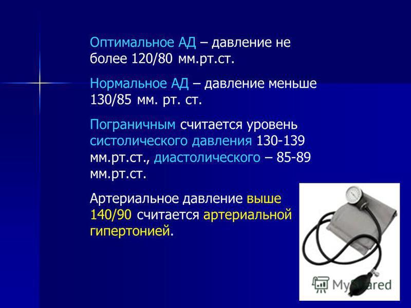 Оптимальное АД – давление не более 120/80 мм.рт.ст. Нормальное АД – давление меньше 130/85 мм. рт. ст. Пограничным считается уровень систолического давления 130-139 мм.рт.ст., диастолического – 85-89 мм.рт.ст. Артериальное давление выше 140/90 считае