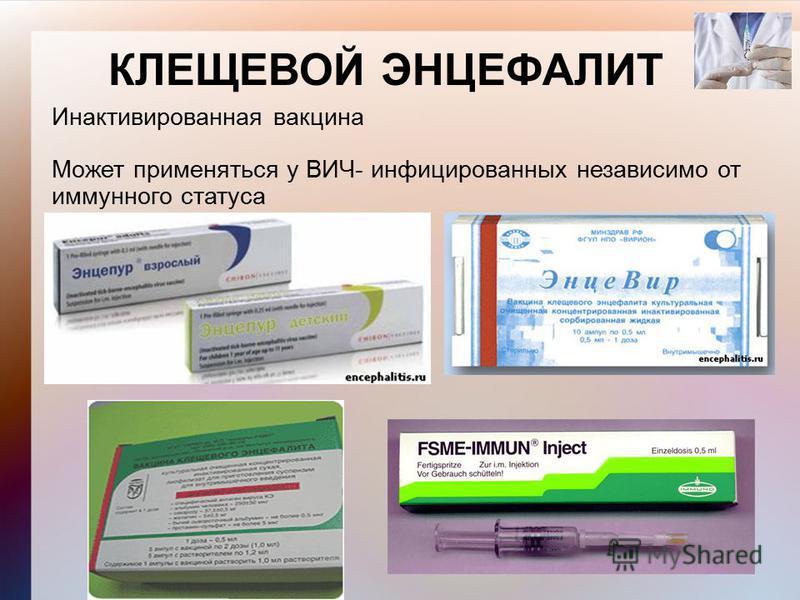КЛЕЩЕВОЙ ЭНЦЕФАЛИТ Инактивированная вакцина Может применяться у ВИЧ- инфицированных независимо от иммунного статуса