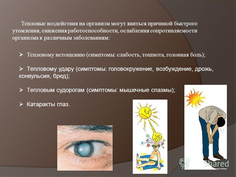 Тепловому истощению (симптомы: слабость, тошнота, головная боль); Тепловому удару (симптомы: головокружение, возбуждение, дрожь, конвульсия, бред); Тепловым судорогам (симптомы: мышечные спазмы); Катаракты глаз.