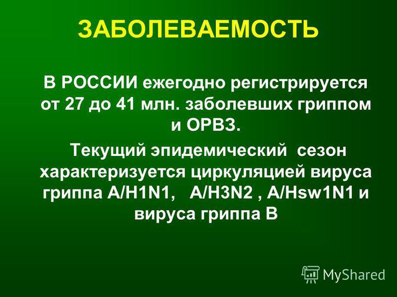 ЗАБОЛЕВАЕМОСТЬ В РОССИИ ежегодно регистрируется от 27 до 41 млн. заболевших гриппом и ОРВЗ. Текущий эпидемический сезон характеризуется циркуляцией вируса гриппа А/H1N1, А/H3N2, А/Нsw1N1 и вируса гриппа B