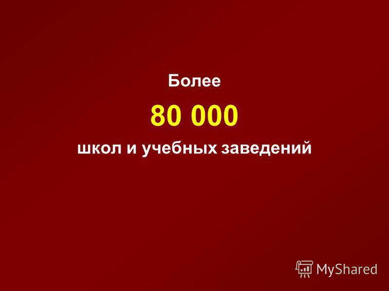 Более 80 000 школ и учебных заведений