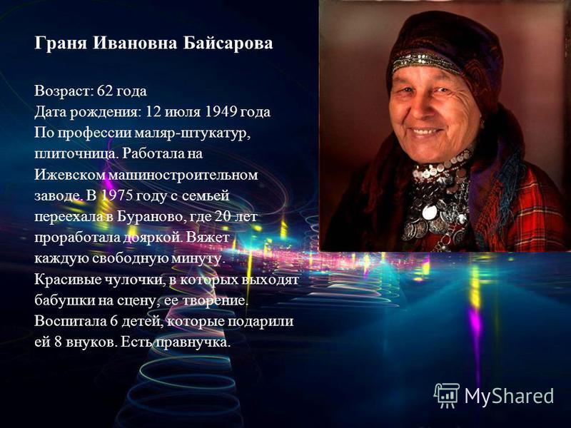 Граня Ивановна Байсарова Возраст: 62 года Дата рождения: 12 июля 1949 года По профессии маляр-штукатур, плиточница. Работала на Ижевском машиностроительном заводе. В 1975 году с семьей переехала в Бураново, где 20 лет проработала дояркой. Вяжет кажду